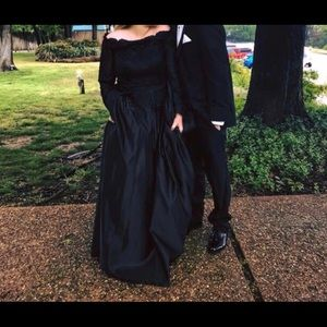 black long-sleeve gown